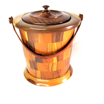 Wooden Inlay Checkered Ice Bucket with Lid  Red Interior Leather Strap V... - $54.98