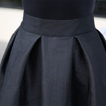 Women BLACK A-Line Ruffle Skirt Lady Taffeta High Waist Midi Pleated Party Skirt image 7
