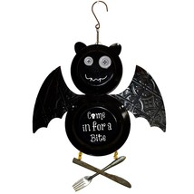"Black Bat ""Come in for a Bite"" Halloween Enamel Plate Hanging Sign Decor image 1"