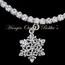 Snowflake Charm Anklet Clear Crystal Stretch 9 Inch Silver Tone Metal Style 639 - $21.99