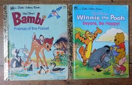 2pc Lot DISNEY Little Golden Bambi Friends Of The Forest 1975, Eeyore 1991 Books - $6.92