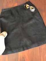 Talbots Size 10 Skirt Black Irish Linen A-Line Career Lined - $15.79