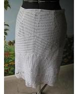 Willi Smith White Crochet Lace Knit Overlay Scalloped Hem Women's Skirt ... - $24.75