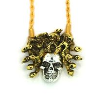 """Han Cholo Silver Gold Plated Medusa Skull Pendant with 26"""" Rope Chain NEW image 3"""