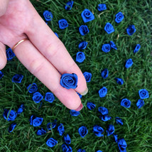 50 Cobalt Blue Roses,Mini Satin Roses,Fabric Flower,DIY Craft Supplies,S... - $7.50