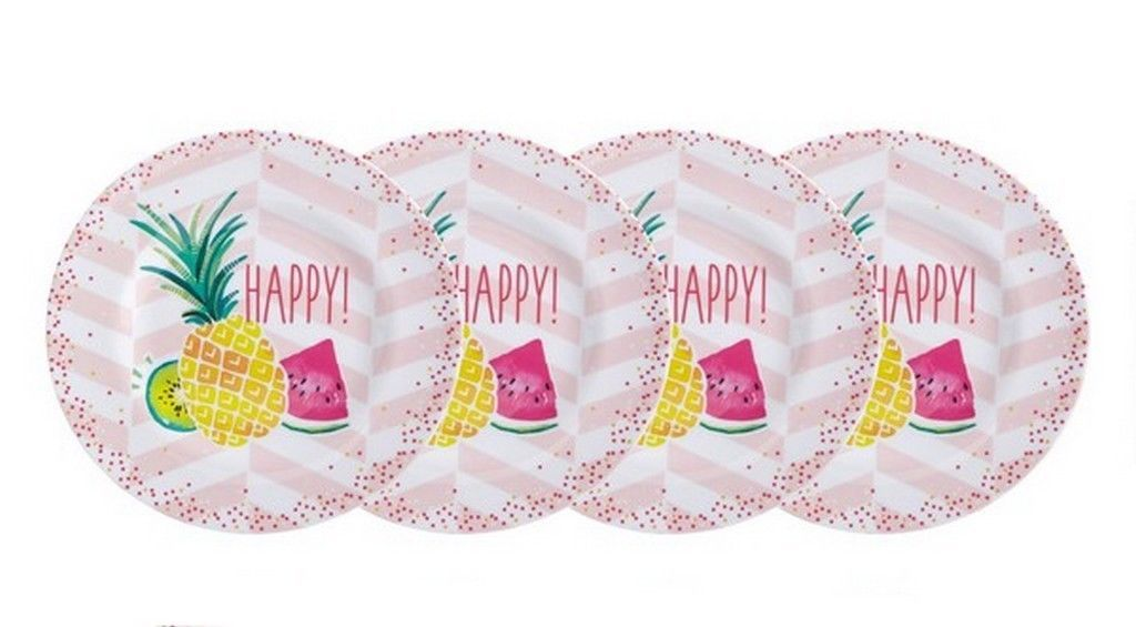 "Tropical Pineapple Melamine Plates 8.5"" Lunch Salad Appetizer Dessert set of 4"