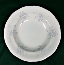 Mikasa Dinner at Eight Laura Large Rim Soup Bowl Japan DB 011 Gray Floral Cereal - $7.66