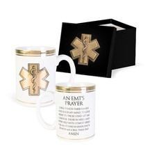 EMT's Prayer Coffee Mug Gilded Gold White Ceramic Cup Gift Boxed - $12.99
