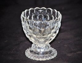 Old Vintage Ovalique by Avon Footed Small Candleholder Clear Raised Bubb... - $16.82