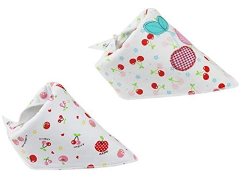 2 PCs Lovely Cherry Saliva Towel Adjustable Baby Neck Scarf Neckerchief 1511""