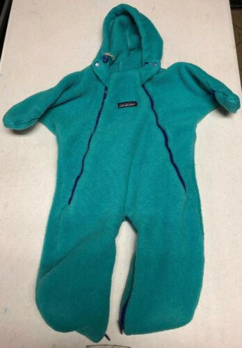 Primary image for Vintage Patagonia Teal Fleece One Piece Snow Suit Infant 10 - 15 Lbs USA