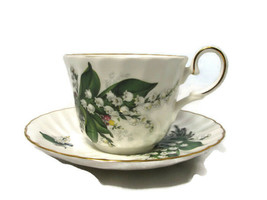 Staffordshire England Cup Saucer Set May Flower Month Lilly of Valley Bone China - $24.74
