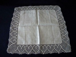 Lovely Vintage Large White Hankie with Heart Pattern Crochet Trim; Appro... - $4.50
