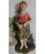 Ceramic Figurine of Girl Picking Grapes VIntage Rare FEI Statue - $45.00