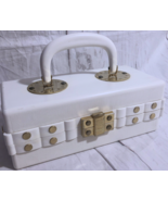 1960 White Lucite Box Purse Red Inside Gold Rivets Handle Made In Italy - $173.25