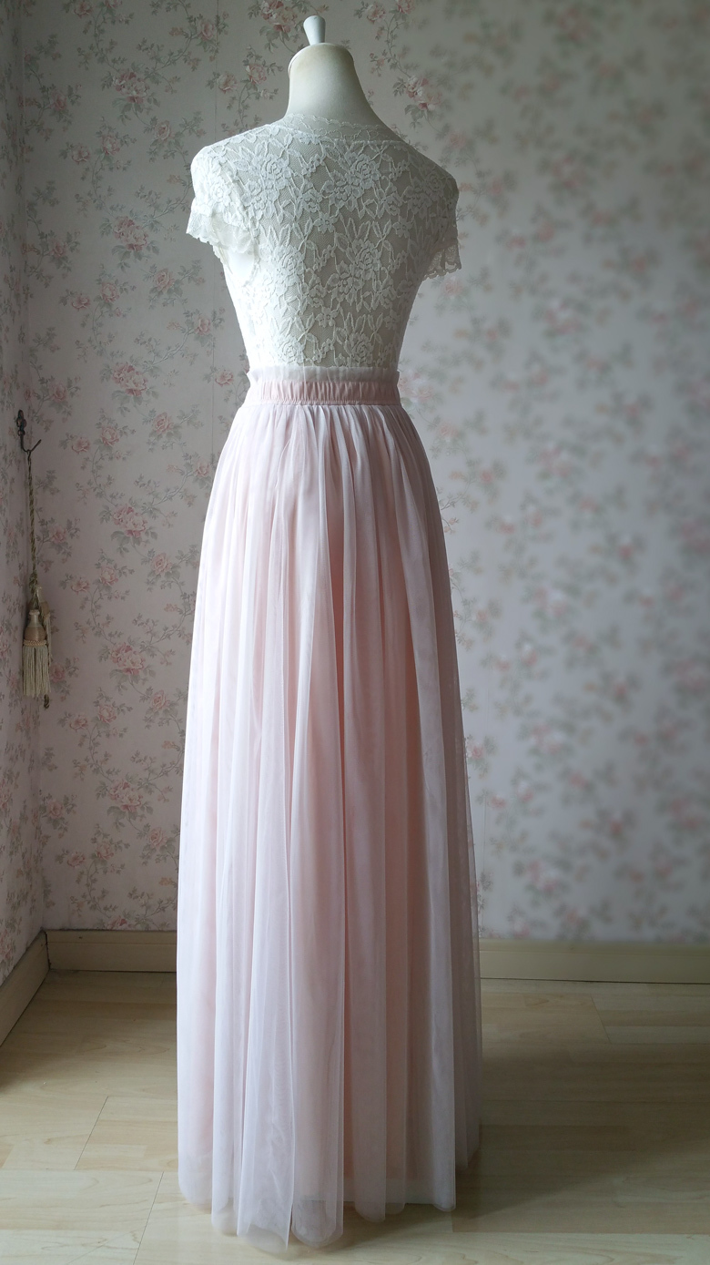 PALE PINK Floor Length Tulle Skirt Pale Pink Bridesmaid Skirts Wedding Outfits image 6