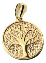 Pendant Tree Of Life in Gold 18k 750 YELLOW WITH ZIRCONIA MADE IN ITALY image 1