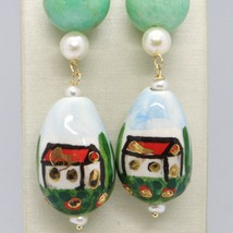 18K YELLOW GOLD EARRINGS AVENTURINE & CERAMIC DROP HOME HAND PAINTED IN ITALY image 2