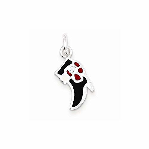 Primary image for Sterling Silver Black & Red Enameled Boot Charm, Best Quality Free Gift Box