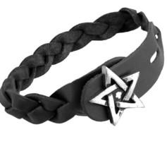 Pentagram Gaelic Celtic Plait Black Braided Leather Bracelet A37 Alchemy Gothic - $24.95