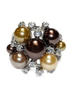 THE LOOK OF REAL CLUSTER BROWNS PEARL& BEZEL CUBIC ZIRCONIA RING BRIDAL - $24.00
