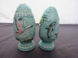 "Vtg 4"" Flamingo Dolphin Palm Trees Salt & Pepper Shakers Florida Souvenir - $23.77"