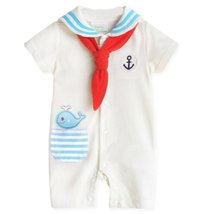 Navy Suit Baby Bodysuit Infant Onesies Toddler One-piece Romper WHITE