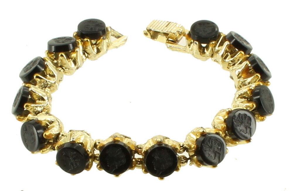 """Vintage Designer Jet Black Glass Intaglio Lady Profile Cabs Bracelet 7""""Gold Tone"""