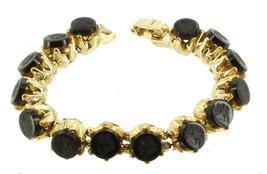 """Vintage Designer Jet Black Glass Intaglio Lady Profile Cabs Bracelet 7""""Gold Tone image 1"""