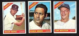 1966 TOPPS NEW YORK YANKEES BASEBALL CARD LOT OF 6 w/ JIM BOUTON - $16.78