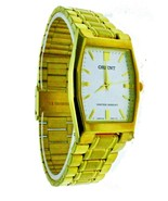NEW Orient Quartz Rectangular Gold Tone Stainles Steel Band White Dial W... - $56.09