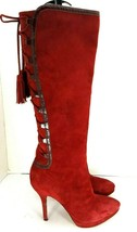 Joan & David Circa Red Suede Knee High Boots  Women's US size 7 M - €50,48 EUR