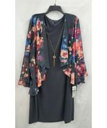 Tiana B-Plus Size 3/4 Bell Sleeve Faux Jacket Dress w/ Necklace Sz 22W N... - $25.05