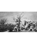 NUDE Women Accompany Soldiers Army Unit - 1882 Victorian Antique Print - $14.85