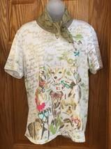 CJ Banks Dog Tee Shirt Glasses Plus a Sage Green Sheer Scarf  T-Shirt Cu... - $14.84