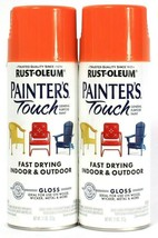 2 Cans Rust-Oleum 11oz Painter's Touch 318626 Gloss Orange General Purpo... - $20.99