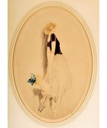 Woman and her doll 5 x 7 signed art deco Louis Icart  print - $1.84