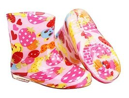Cute Starry Kids' Rain Boots Pink Bear Children Rainy Days Shoes 16CM