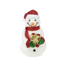 "23"" Lighted White Plush Glittered Snowman Tinsel Gift Christmas Yard Dec... - $68.30"