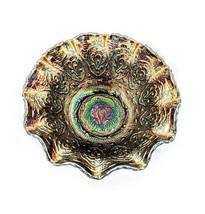 Fenton Persian Medallion Carnival Glass Electric Blue Purple Ruffle Edge... - $135.00