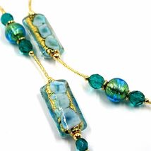 LONG NECKLACE BLUE MURANO GLASS RECTANGLE TUBE, SPHERE, GOLD LEAF, ITALY MADE image 3
