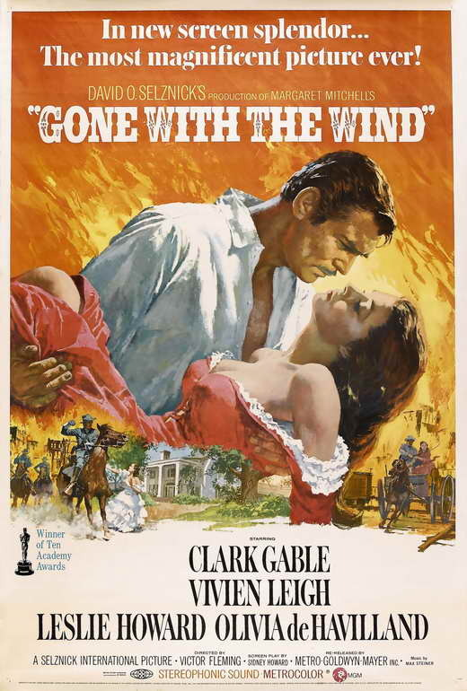 Gone with the wind 27x40 movie poster orange