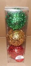 Ornaments Christmas Shatterproof Celebrate It 3ea Glitter Balls Red/Gd/G... - $9.49