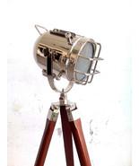 Maritime Hollywood Spotlight Floor Lamp Handmade Wooden Tripod Searchlig... - $96.72