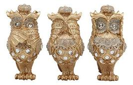 Ebros Golden See Hear Speak No Evil 3 Wise Owls with Royal Crowns and Crystals F - $25.99