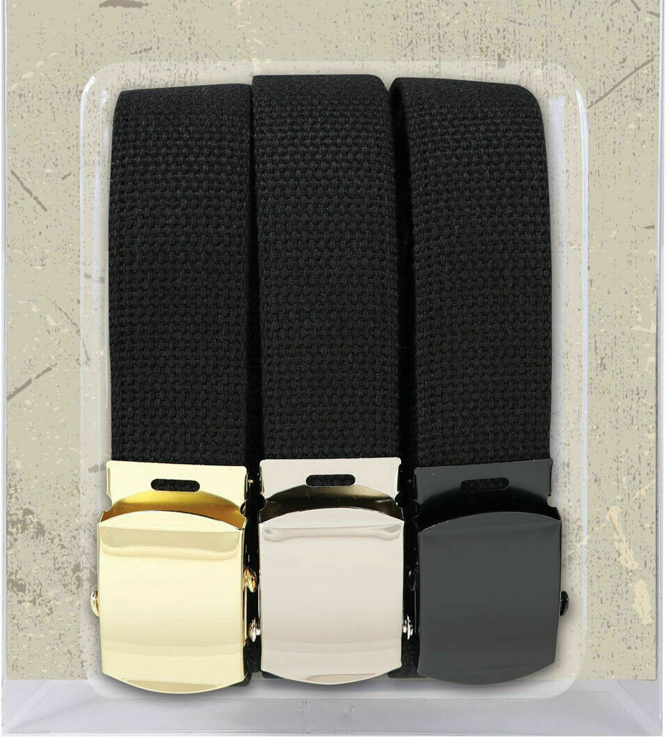"Primary image for 3 Pack - 100% Cotton Black Military Web Belts 54"" Long Belt"