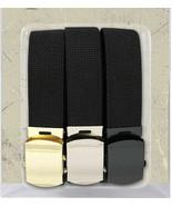 "3 Pack - 100% Cotton Black Military Web Belts 54"" Long Belt - $14.99"