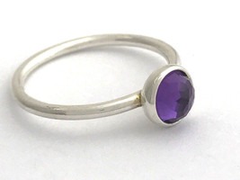 Authentic Pandora February Droplet Silver, Amethyst Ring 191012AM-56 Sz ... - $38.94