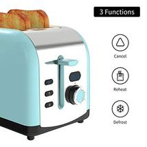 Toaster, 2 Slice Retro Toasters Stainless Steel with LED Timer Display Blue image 3