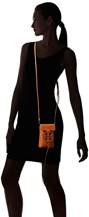 Authentic Tory Burch MILLER PHONE CROSS-BODY Leather Brown